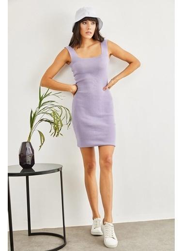Sortee Kadın Kare Yaka Elbise Lila